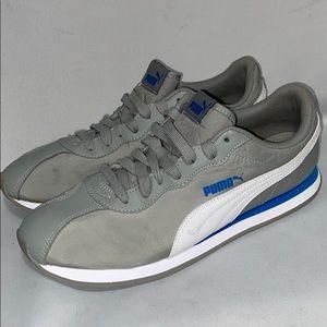 Puma men's gray blue white sneakers size 11